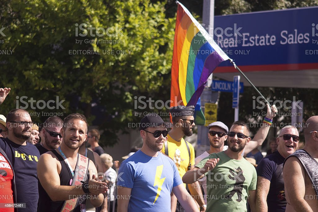 Auckland Pride Parade: Marching Men stock photo