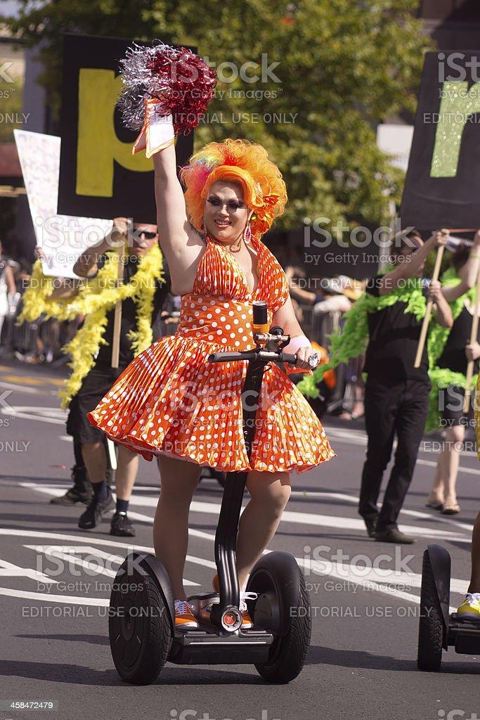 Auckland Pride Parade: Orange Marilyn stock photo