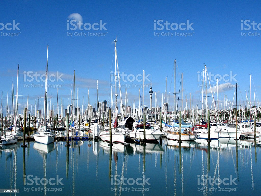 Auckland Sky Tower & marina stock photo