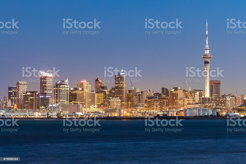 Auckland Skyline at Night New Zealand stock photo