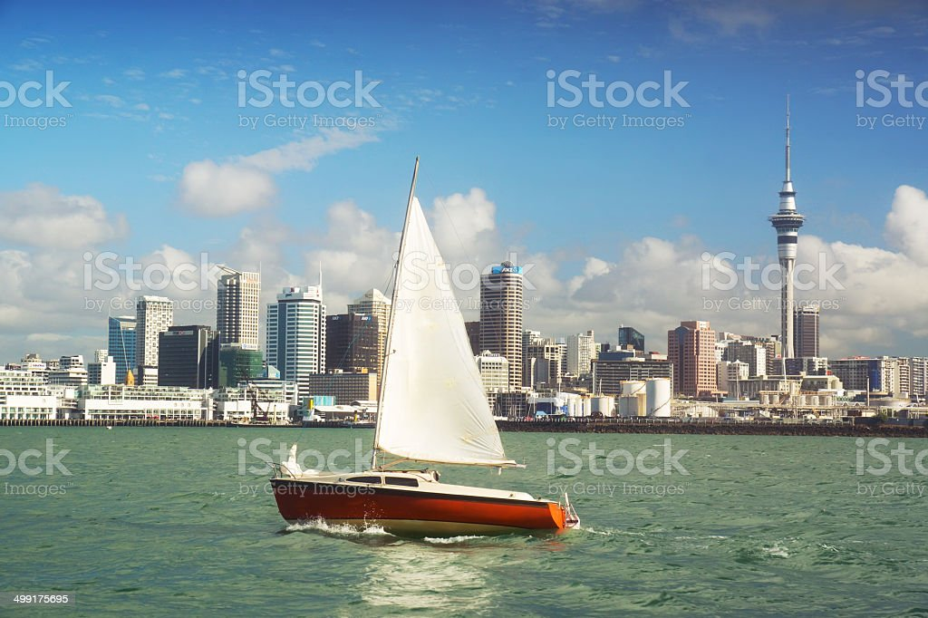 Auckland Skyline - City of Sails stock photo