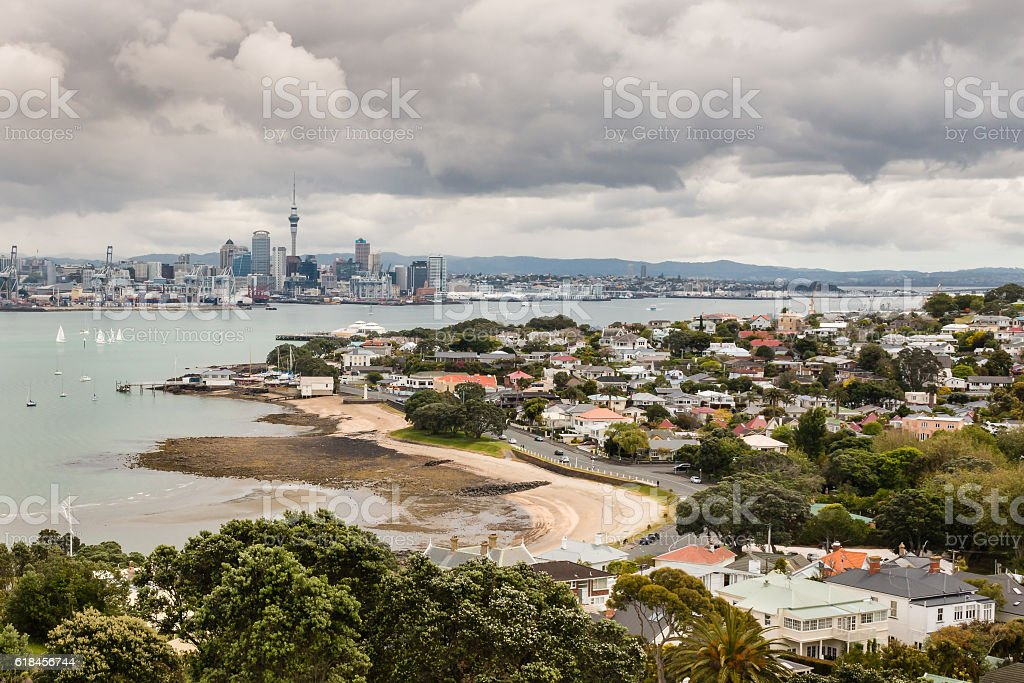 Auckland skyline with Devonport suburb stock photo
