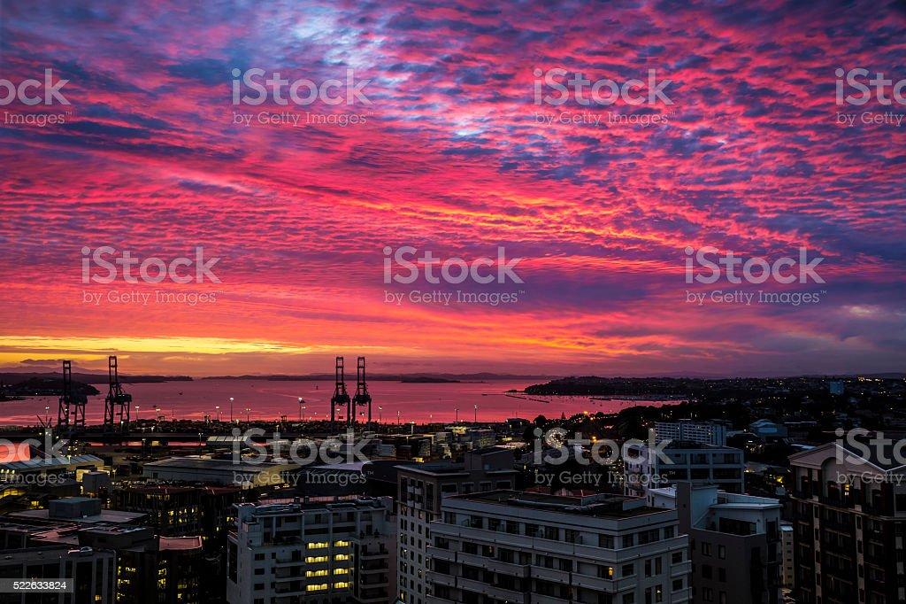 Auckland Sunrise stock photo