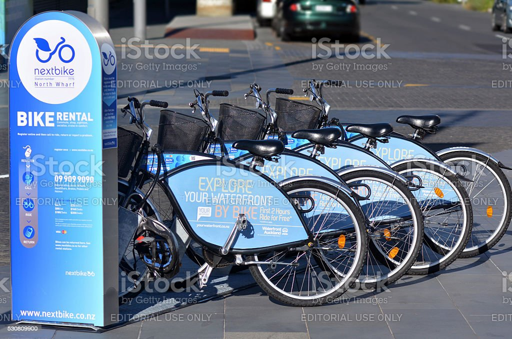 Auckland waterfront bike hire - New Zealand stock photo