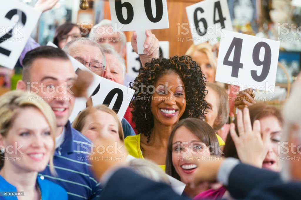 Auction Crowd stock photo