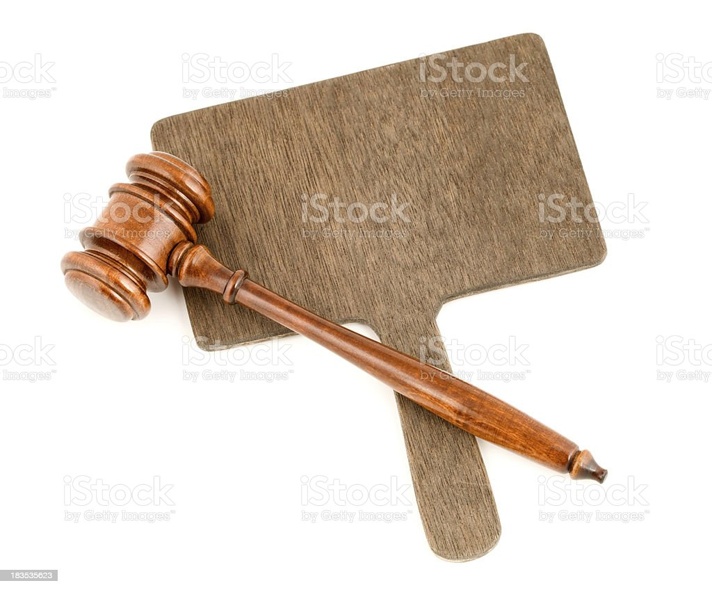 Auction Paddle and Gavel on White stock photo