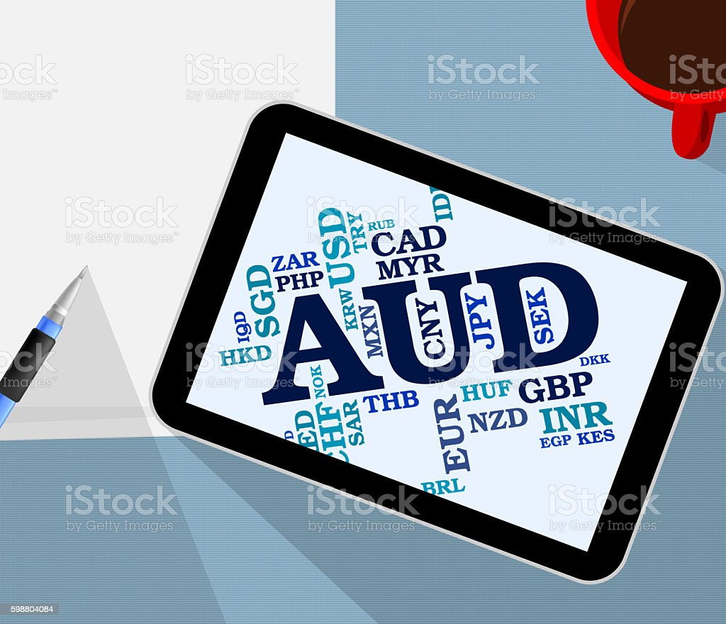 Aud Currency Shows Australian Dollar And Banknotes stock photo