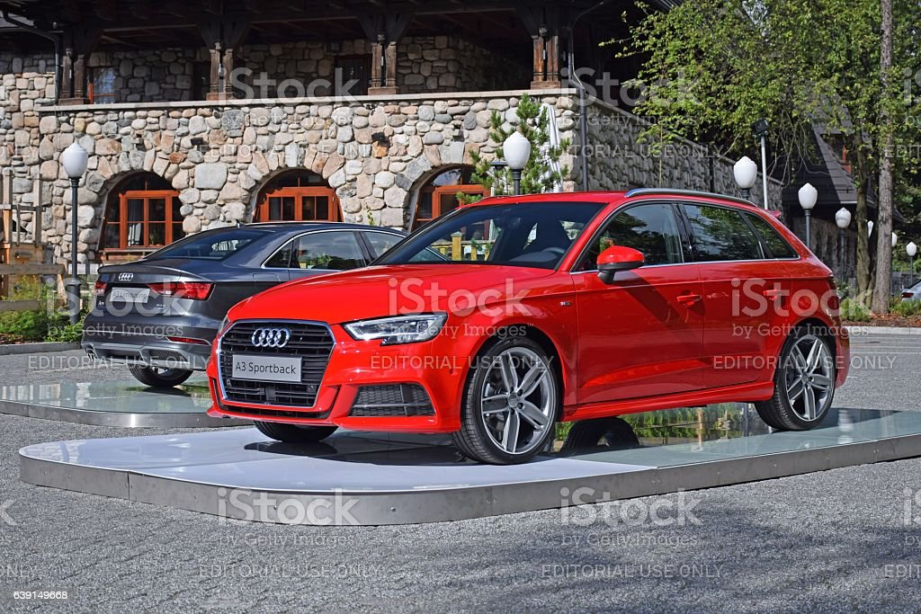 Audi A3 vehicles on the exposition stock photo