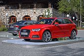 Audi A3 vehicles on the exposition