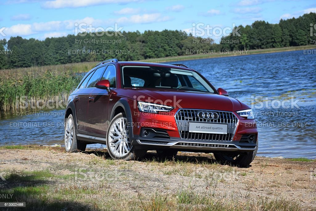 Audi A4 allroad quattro by the lake stock photo