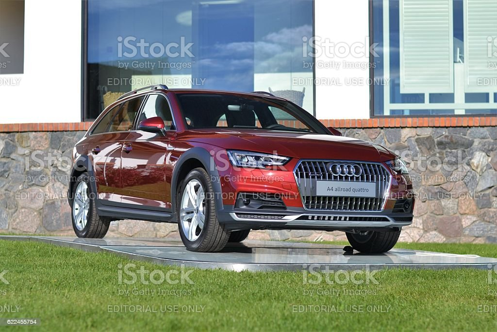 Audi A4 allroad quattro on the exposition stock photo