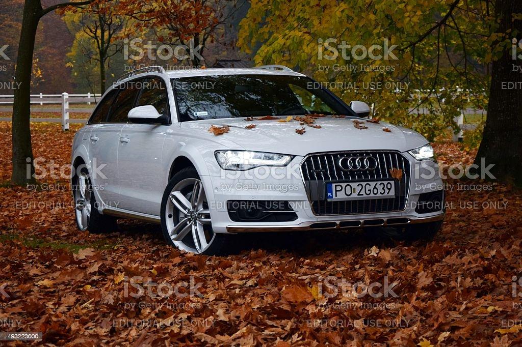 Audi A6 Allroad in autumn scenery stock photo