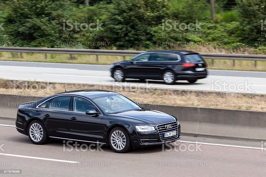 Audi A8 sedan on the road stock photo
