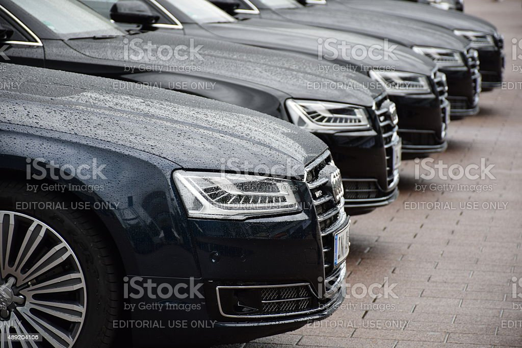 Audi limousines in a row stock photo