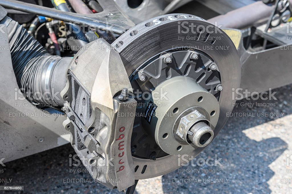 Audi R8 Le Mans Prototype sports-prototype race car Brembo brake stock photo