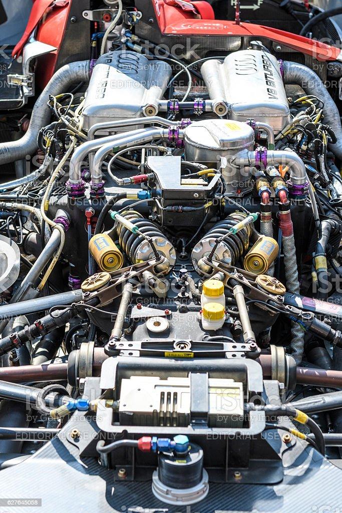 Audi R8 Le Mans Prototype sports-prototype race car engine stock photo