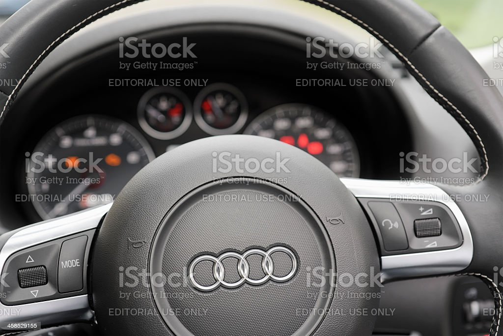 Audi Steering Wheel and Dashboard stock photo