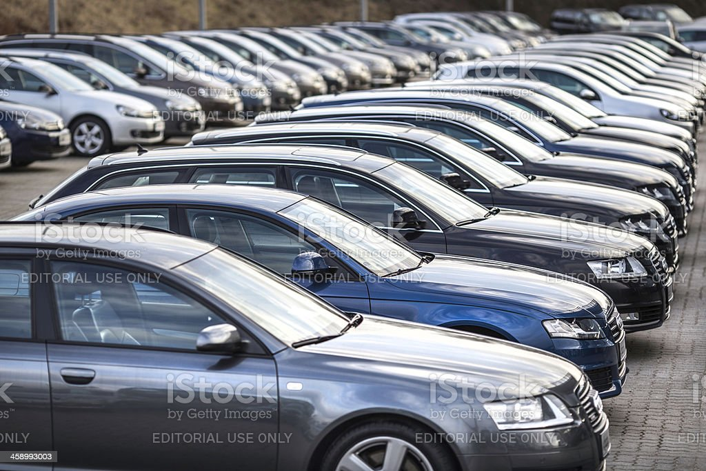 Audi vehicles in a row stock photo