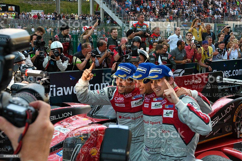 Audi winning drivers Lucas di Grassi, Loïc Duval, Oliver Jarvis stock photo