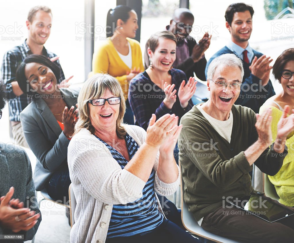 Audience Applaud Clapping Happines Appreciation Training Concept stock photo