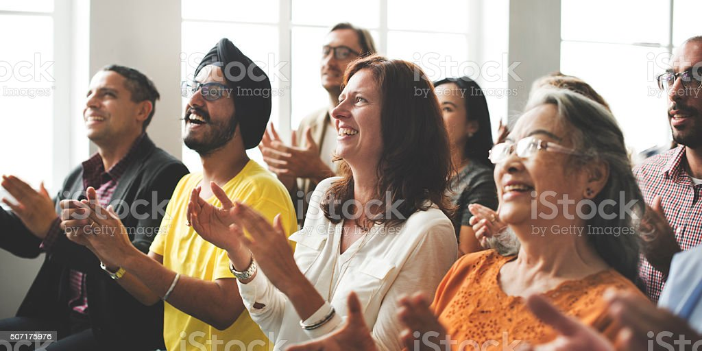 Audience Applaud Clapping Happines Training Concept stock photo
