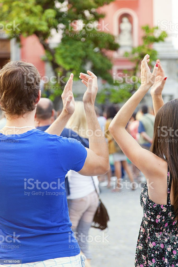 Audience applauding royalty-free stock photo