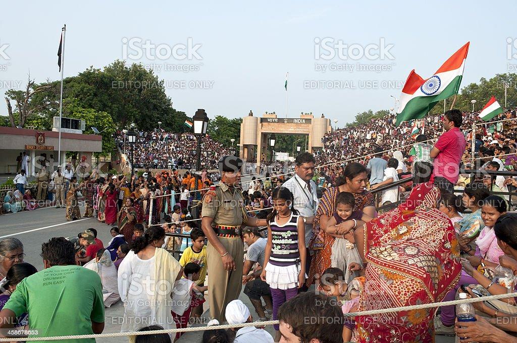 Audience at Wagah Border Ceremony India Pakistan royalty-free stock photo