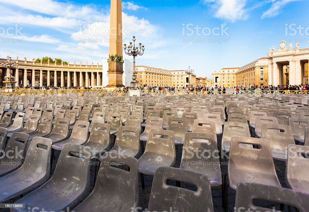 Audience chairs in Vatican stock photo