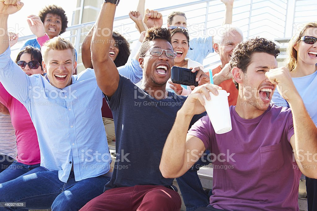 Audience Cheering At Outdoor Concert Performance stock photo
