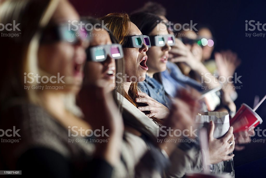 Audience Watching  Movie with 3-d glasses in cinema stock photo