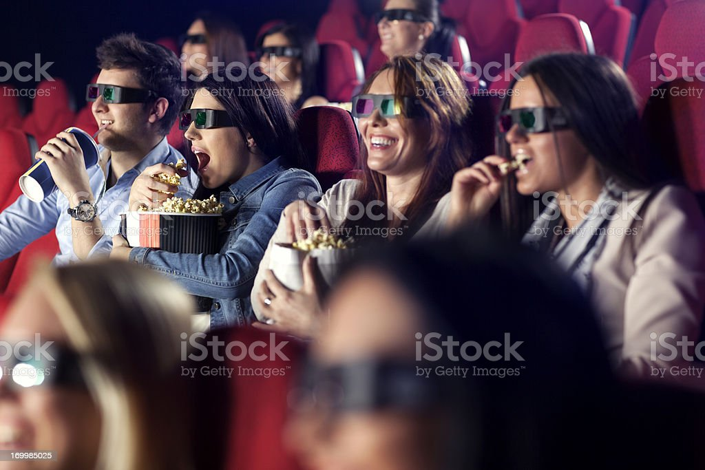 Audience Watching  Movie with 3-d glasses. royalty-free stock photo