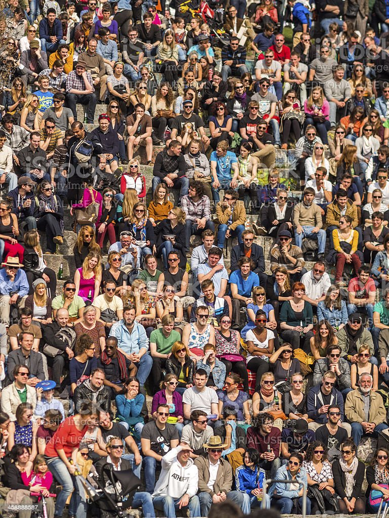 Audience Watching the Sunday Karaoke in Mauerpark, Berlin, Germany royalty-free stock photo
