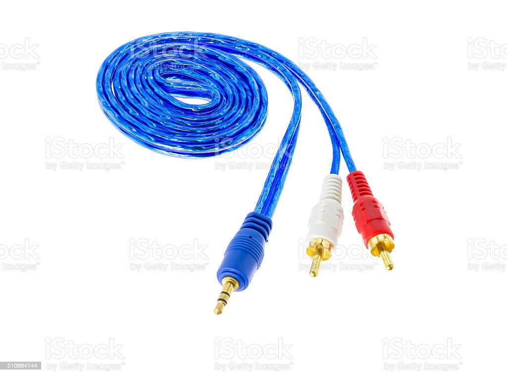 Audio and video cable on white stock photo