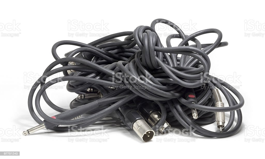 audio cable clew stock photo