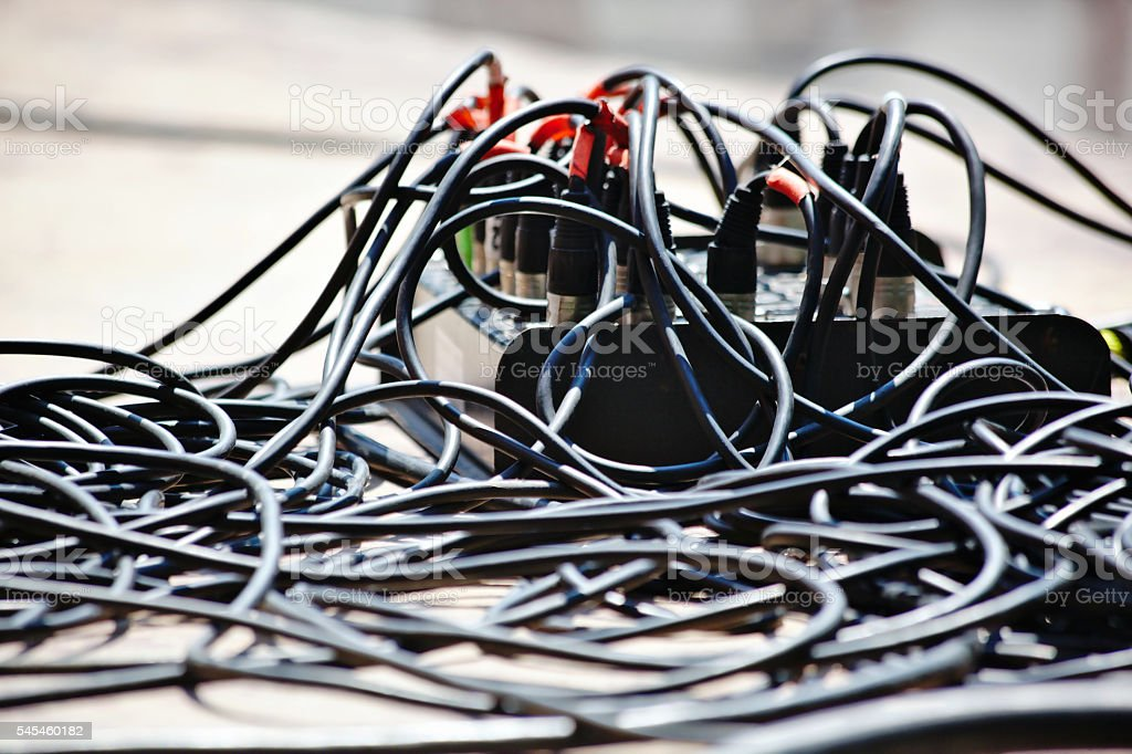 Audio Cables Mess stock photo