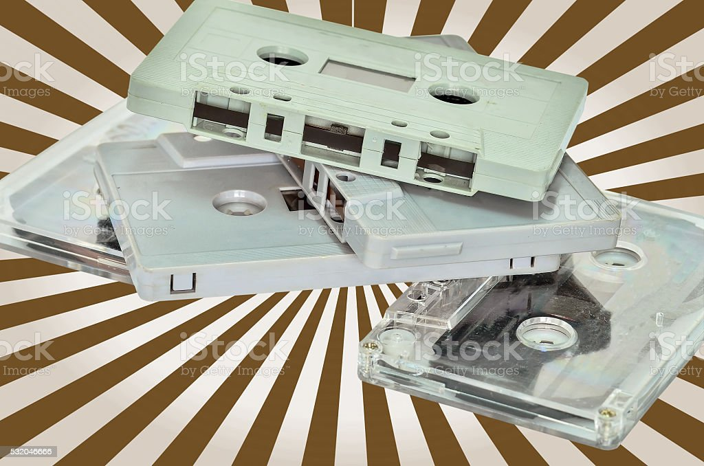 Audio cassette and tape stock photo