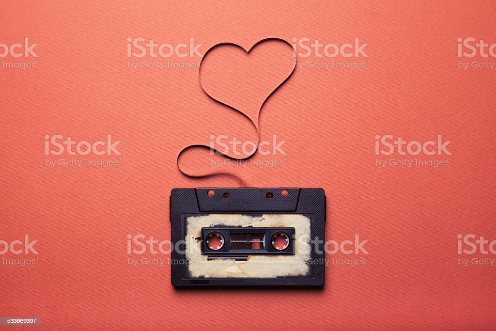 audio cassette with magnetic tape stock photo