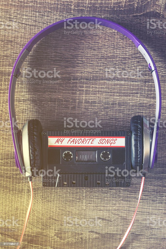 Audio cassette with your favorite music stock photo