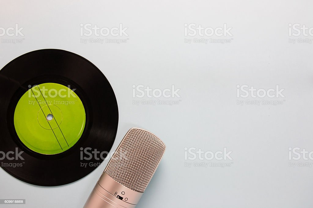 audio cassettes and microphone stock photo