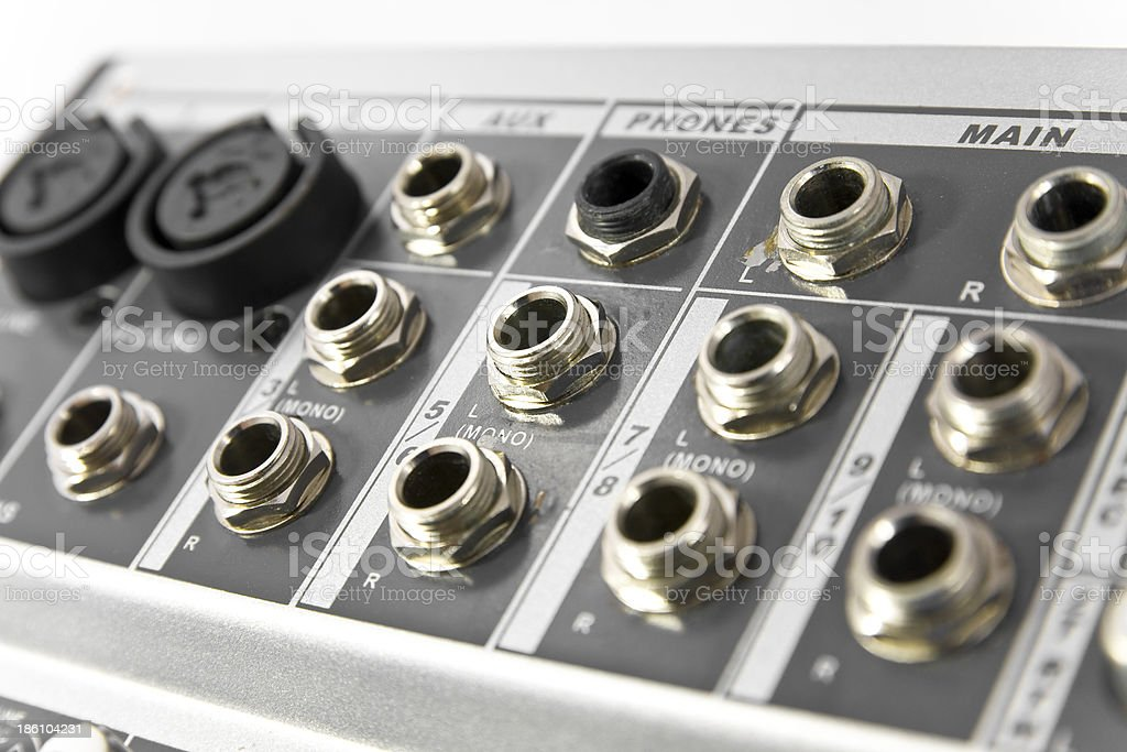 Audio connectors of a mixer royalty-free stock photo