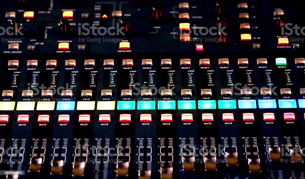 Audio Control surface of a great HiFi system stock photo