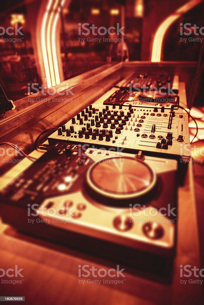 Audio dj mixer stock photo