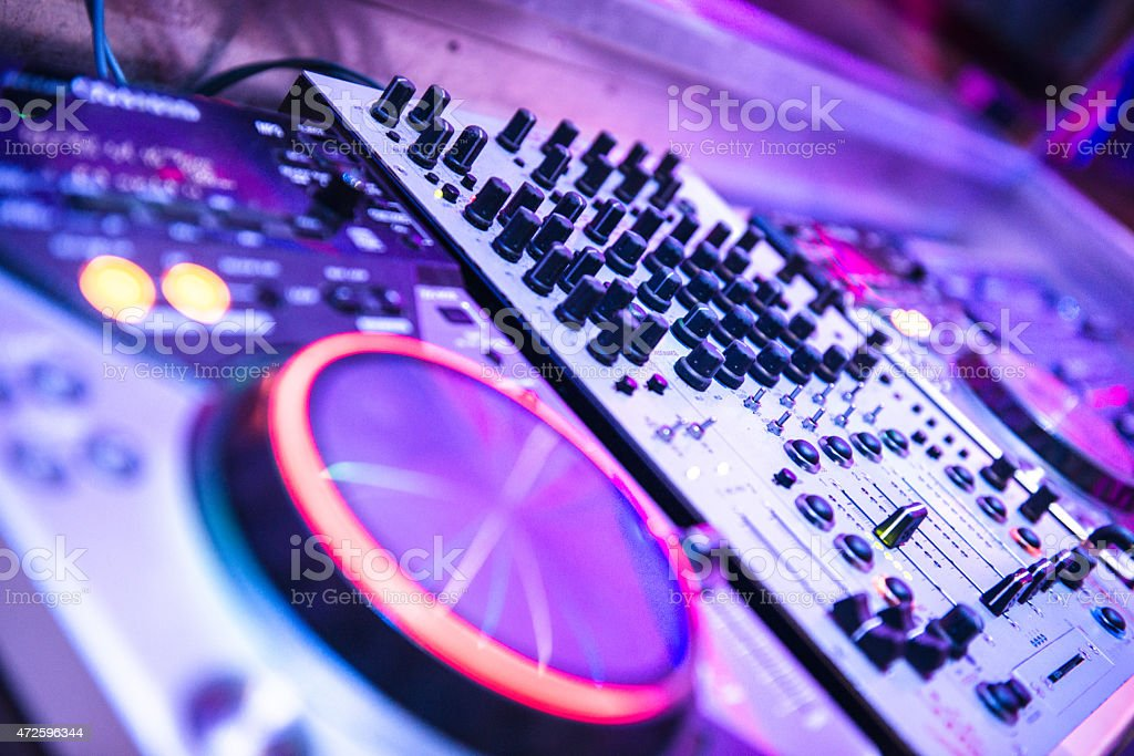 Audio dj mixer stock photo