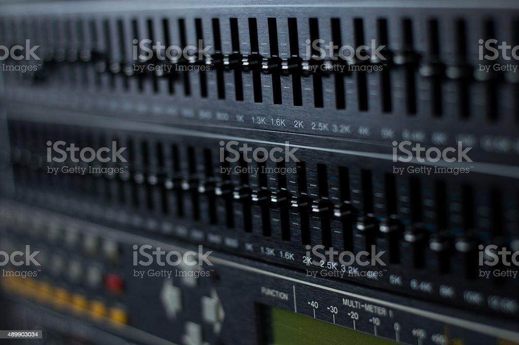 Audio equalizer rack stock photo