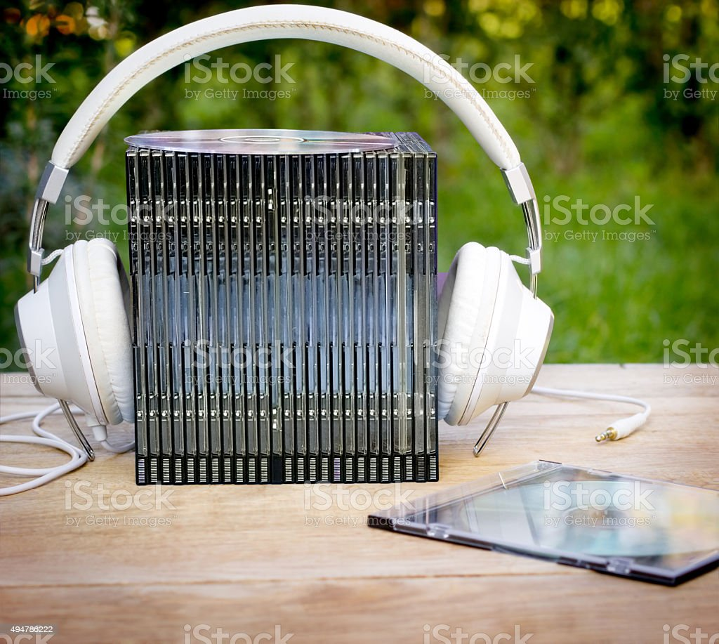 Audio - listening music (audio media) stock photo