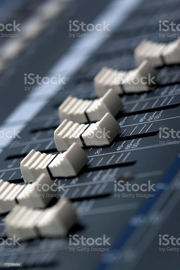 Audio Mixer Faders royalty-free stock photo