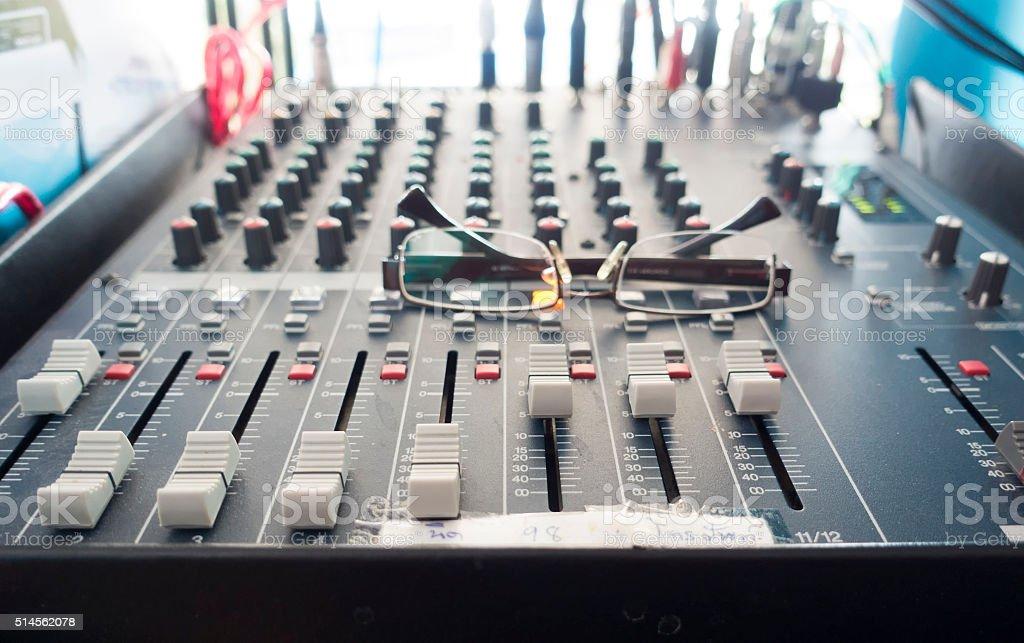 audio mixer, music equipment stock photo