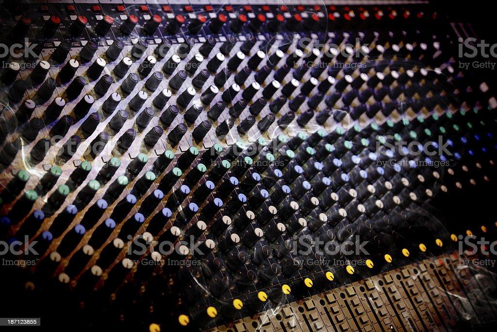 Audio Mixing Board and Smoke royalty-free stock photo