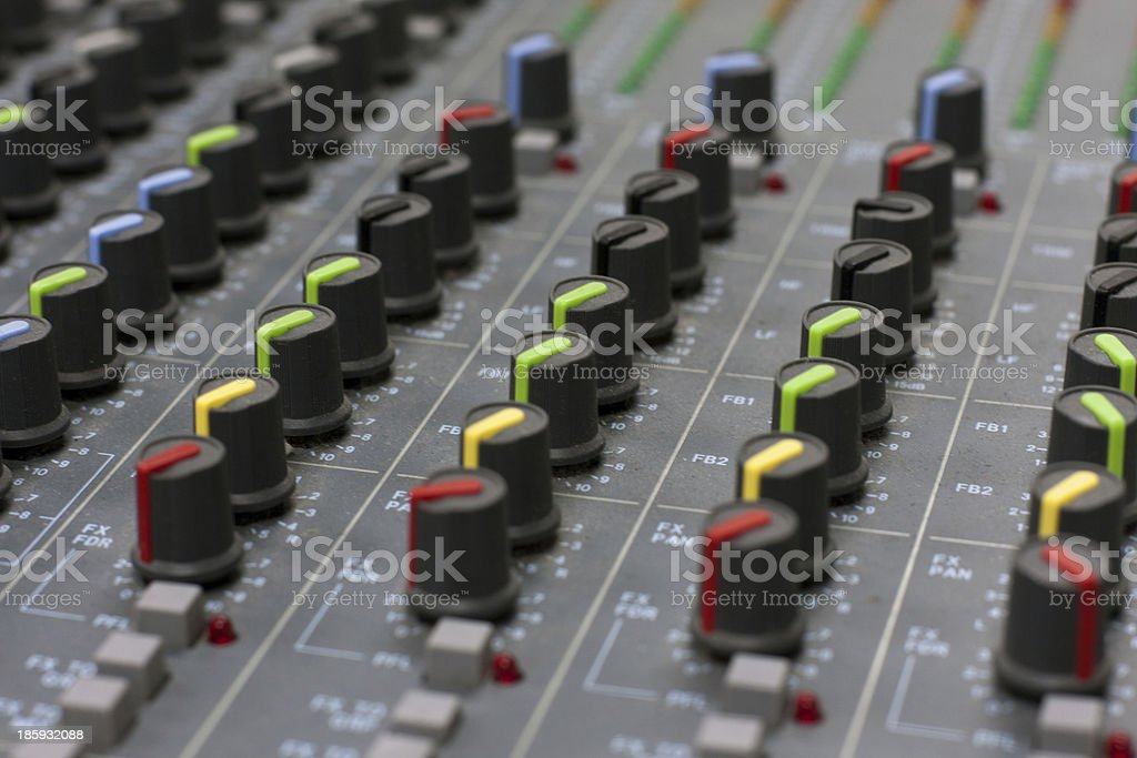 Audio mixing board console royalty-free stock photo