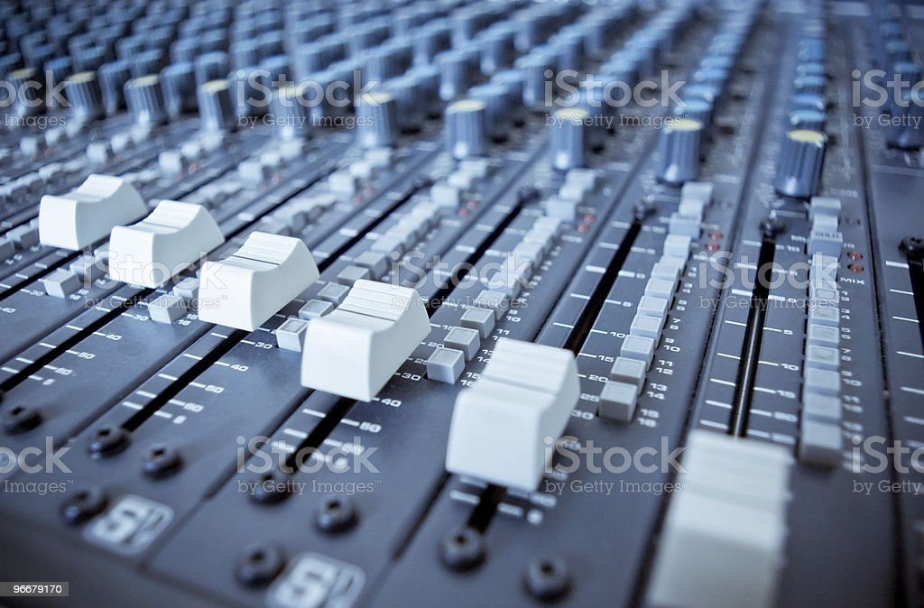 Audio Mixing Board Sliders royalty-free stock photo